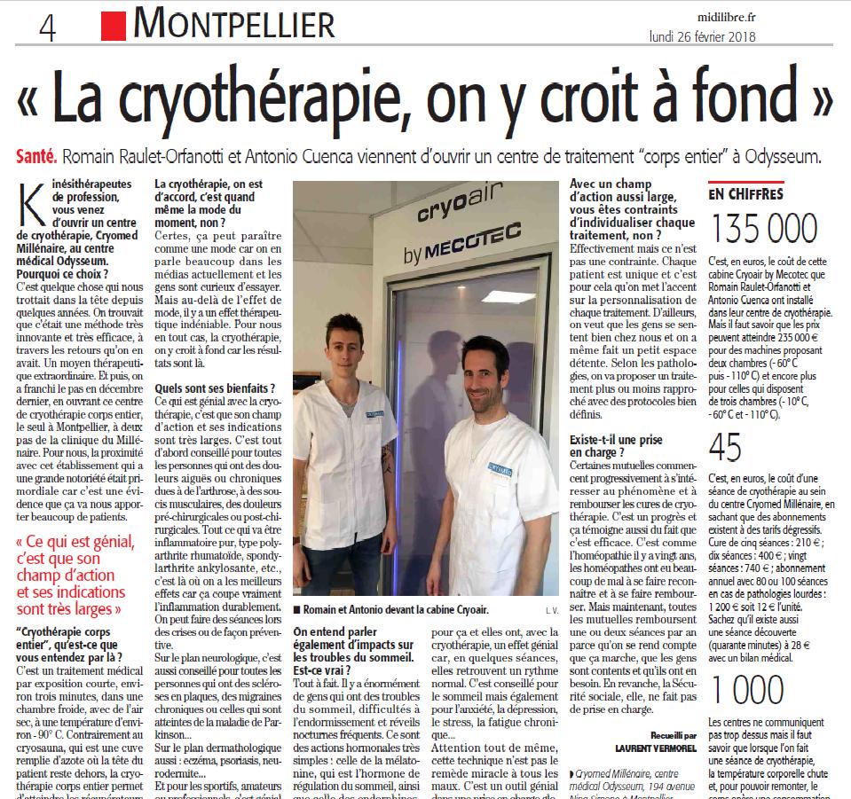 midi libre cryomed article cryothérapie